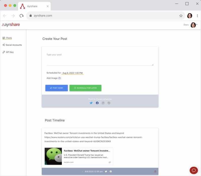 ayrshare browser mock 2FDLNKF