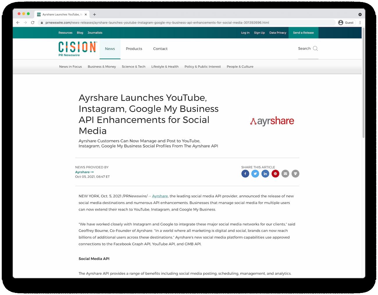 Ayrshare Press Release