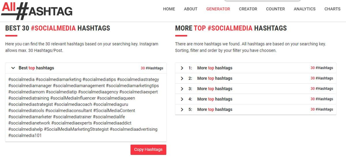 All Hashtag Search